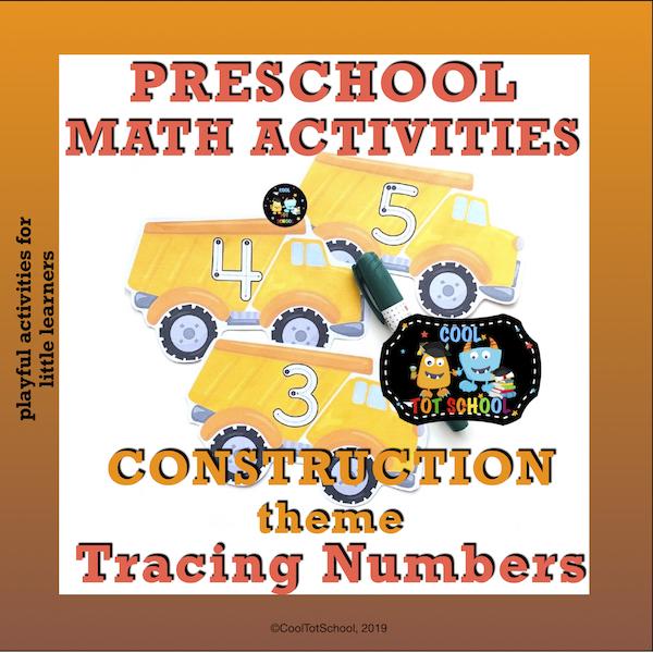 Preschool construction theme tracing numbers activities