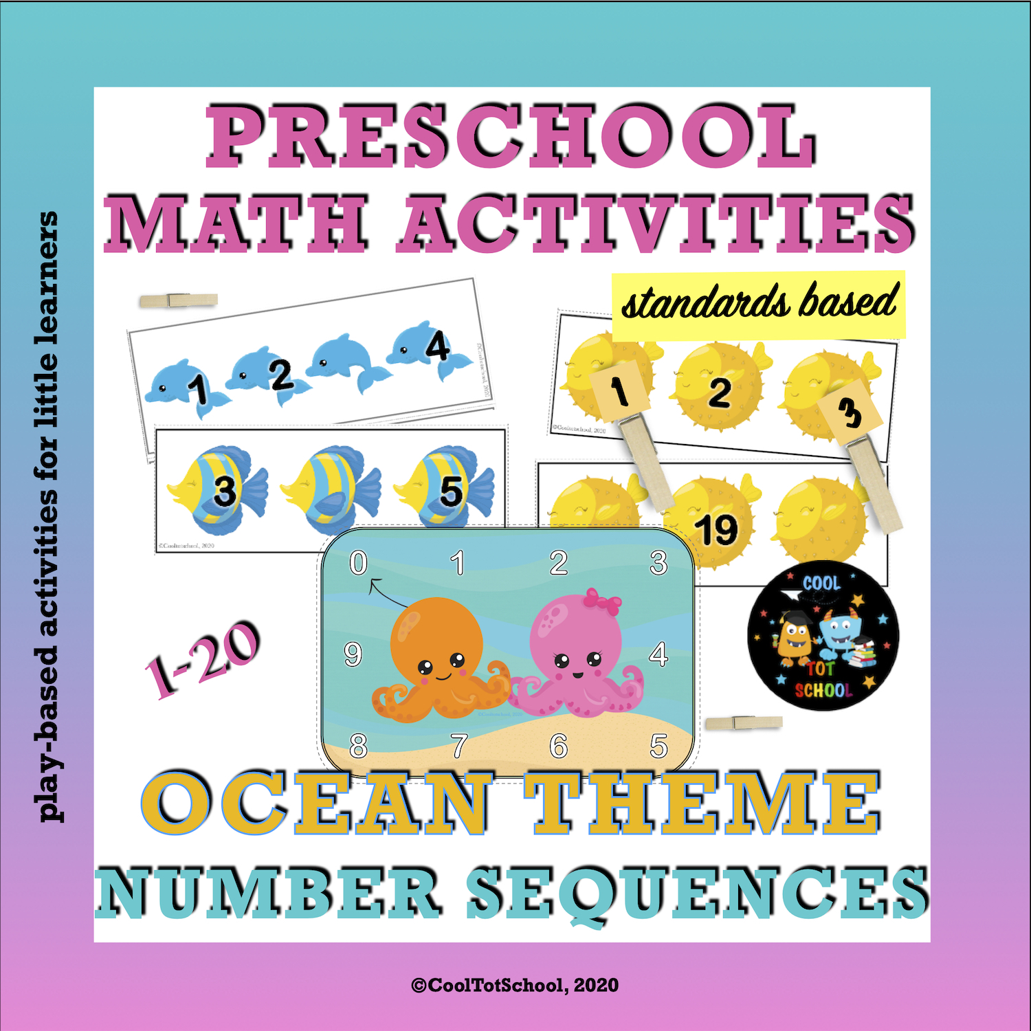 ocean animals and fishes numeral cards with missing numbers
