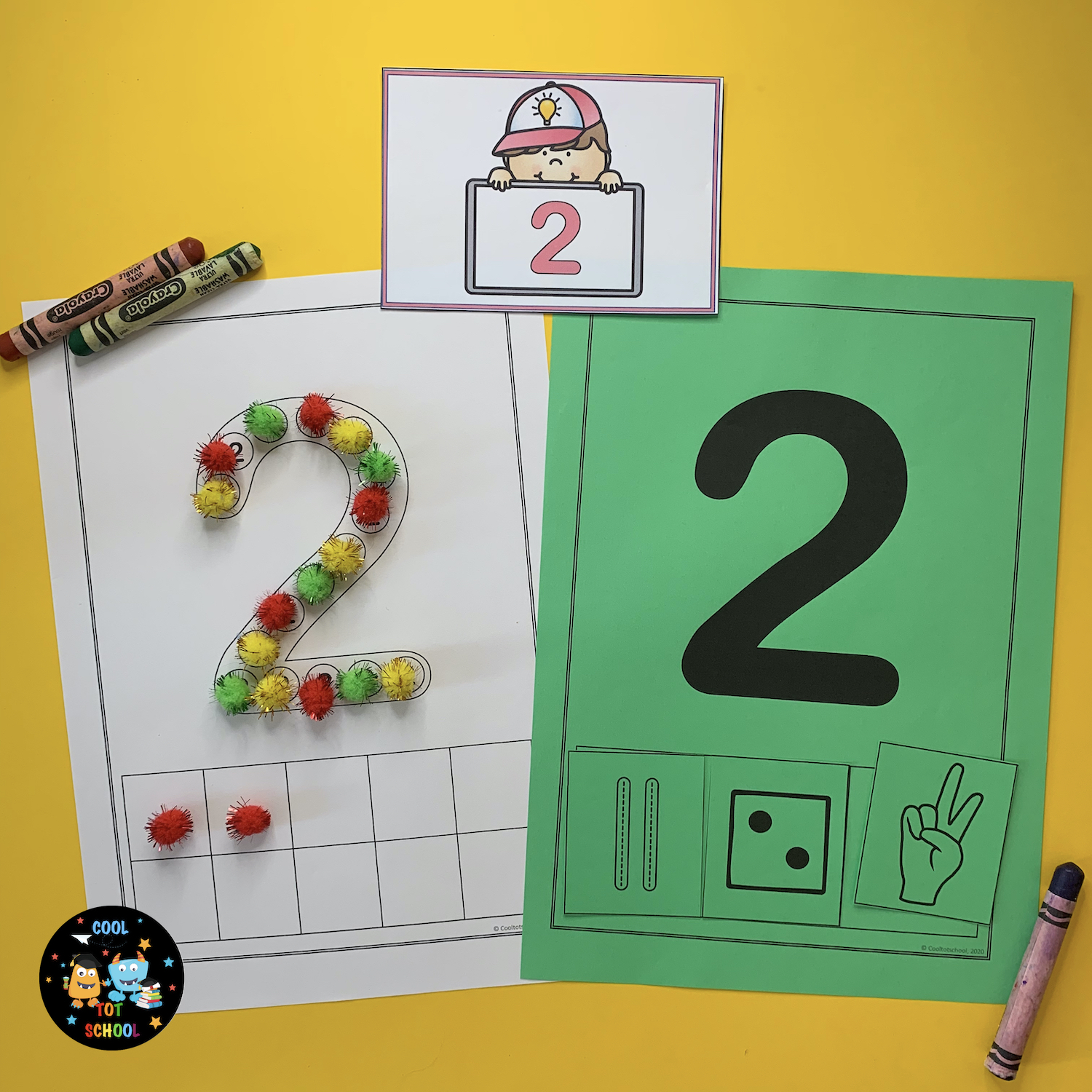 create-number-2-with-pom-poms-for-little-kids