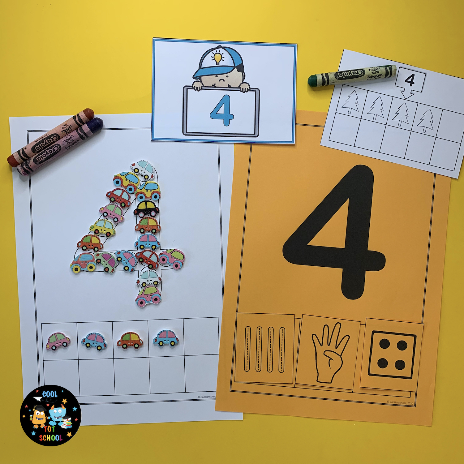number-4-learning-worksheets-with-cars-manipulatives