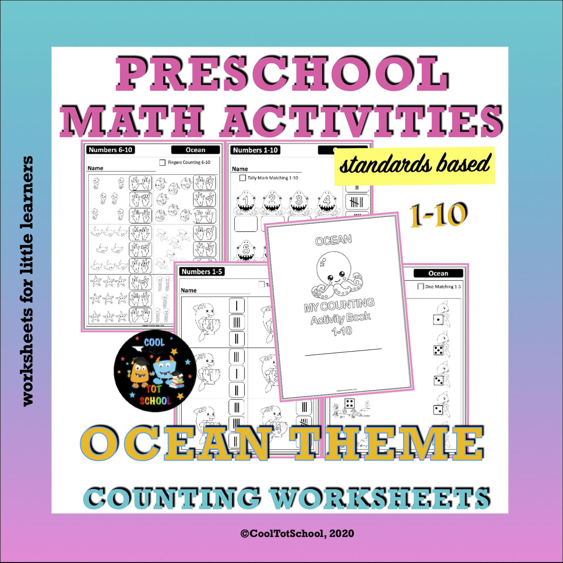 ocean-theme-preschool-worksheets-cover-image