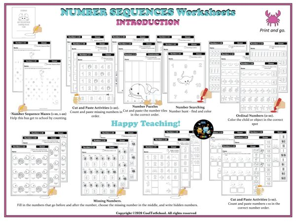 Ocean-theme-Number-Sequencing-activities-worksheets-overview