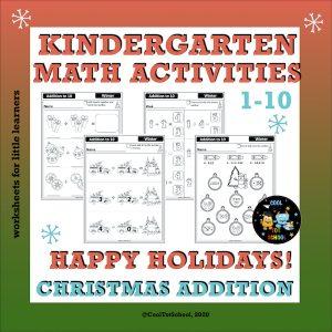 Kindergarten math printables to practice addition during Christmas season