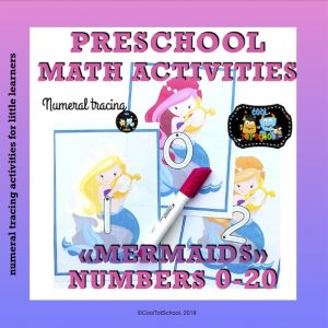 This Mermaids set is full of numeral formation cards in color and black/white to help your little girls practice tracing numbers up to 20.