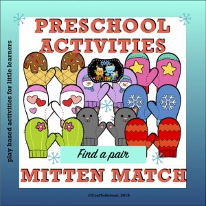 matching cards game with cute mittens for little children